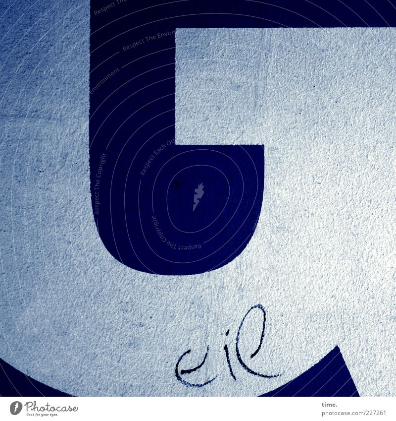 H10.1 | Befindlichkeit mit 4 Buchstaben blau weiß Freude Farbe Wand Mauer Farbstoff lustig Beton offen Schriftzeichen Ecke Dekoration & Verzierung Spitze