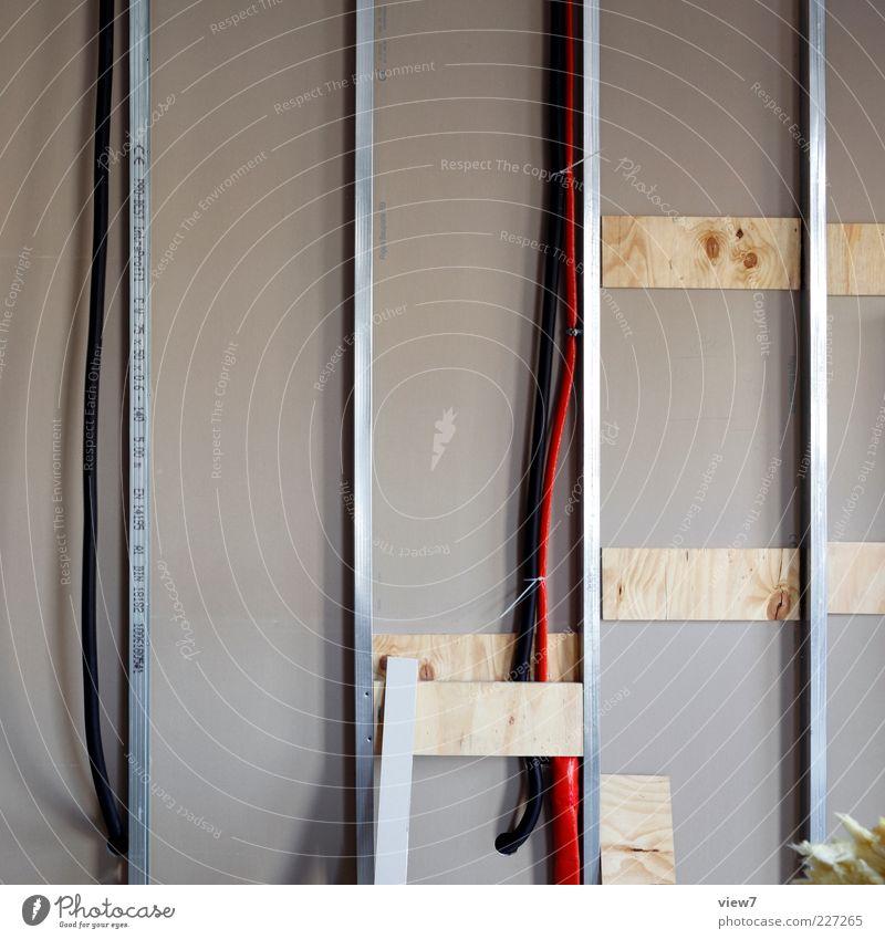 Ausbau Umzug (Wohnungswechsel) einrichten Innenarchitektur Raum Arbeitsplatz Baustelle Mauer Wand Metall Linie Streifen einfach einzigartig modern neu Klischee