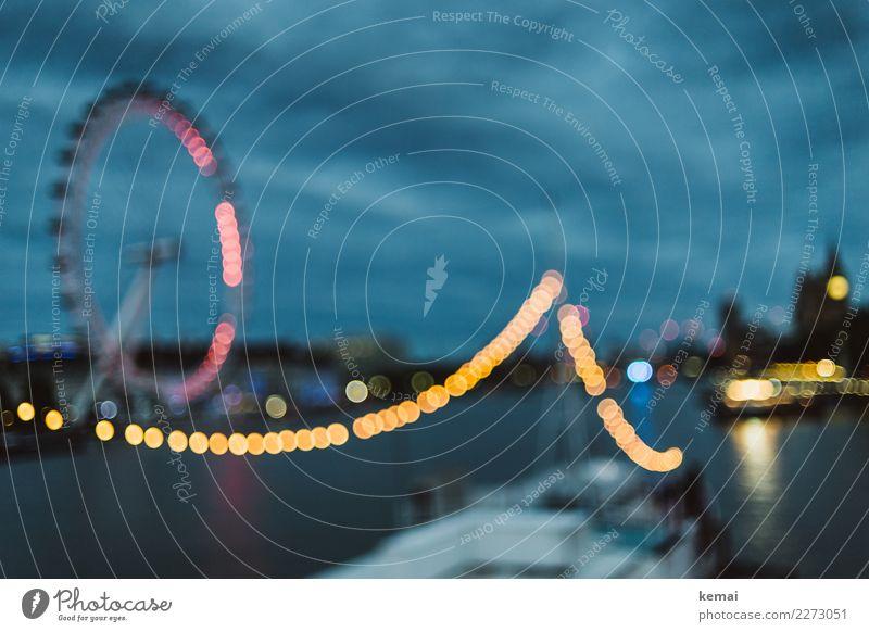 Leuchtendes London Lifestyle Freizeit & Hobby Ferien & Urlaub & Reisen Tourismus Ausflug Sightseeing Städtereise Himmel Wolken Nachthimmel Wetter Flussufer