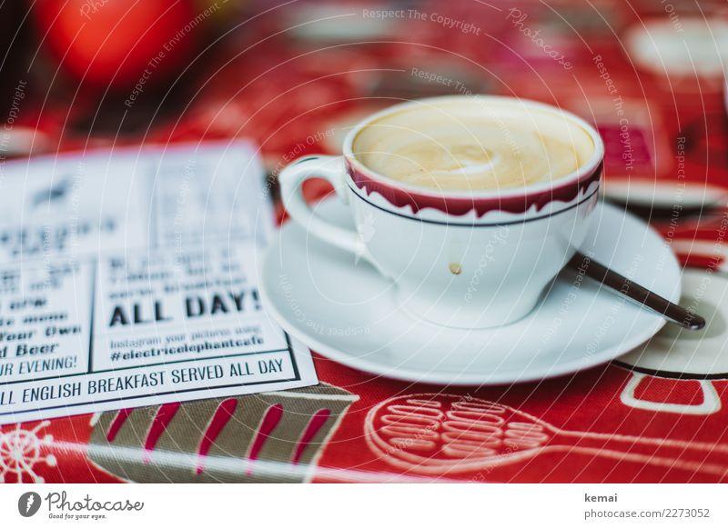 ALL DAY English breakfast weiß rot ruhig Lifestyle Innenarchitektur Häusliches Leben Freizeit & Hobby Schriftzeichen authentisch Lebensfreude Tisch Zeichen