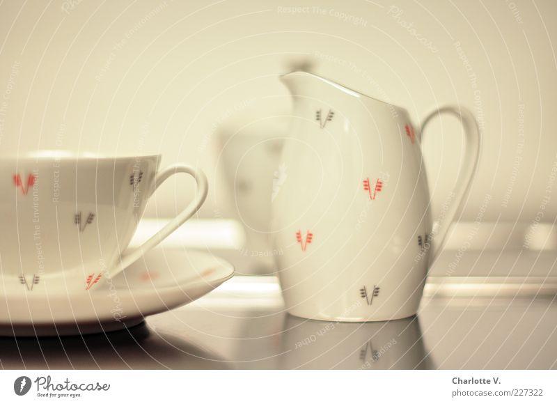 Kaffeegeschirr weiß schön rot grau Stil elegant glänzend Design ästhetisch retro Dekoration & Verzierung Sauberkeit Geschirr Kannen Fünfziger Jahre Kaffeetasse