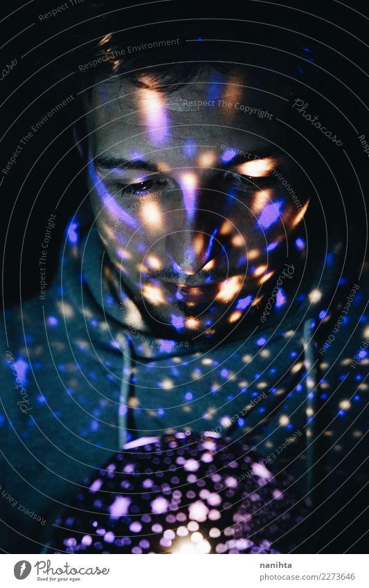 Mensch Jugendliche Mann schön weiß dunkel 18-30 Jahre schwarz Erwachsene Stil Kunst Design maskulin leuchten träumen modern