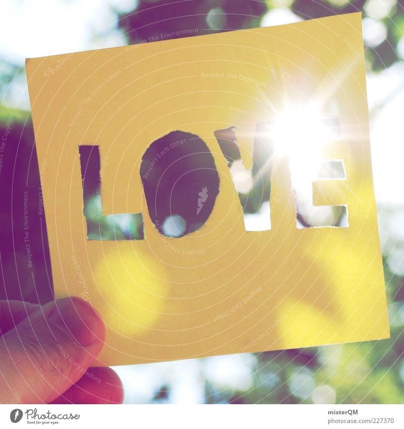 Summer Love. Natur Sonne Sommer Liebe gelb Gefühle Beleuchtung Gegenlicht Zettel Sonnenlicht zeigen strahlend Frühlingsgefühle Naturliebe Liebesbekundung Großbuchstabe