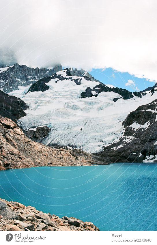 Tierra del Fuego Himmel Natur Ferien & Urlaub & Reisen blau Wasser weiß Einsamkeit Wolken Ferne Berge u. Gebirge Wege & Pfade Schnee Zeit Schwimmen & Baden