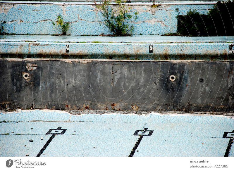 auf alten bahnen alt blau Wand Mauer Stein Linie nass geschlossen Beton ästhetisch leer kaputt Wandel & Veränderung retro Schwimmbad Ziffern & Zahlen