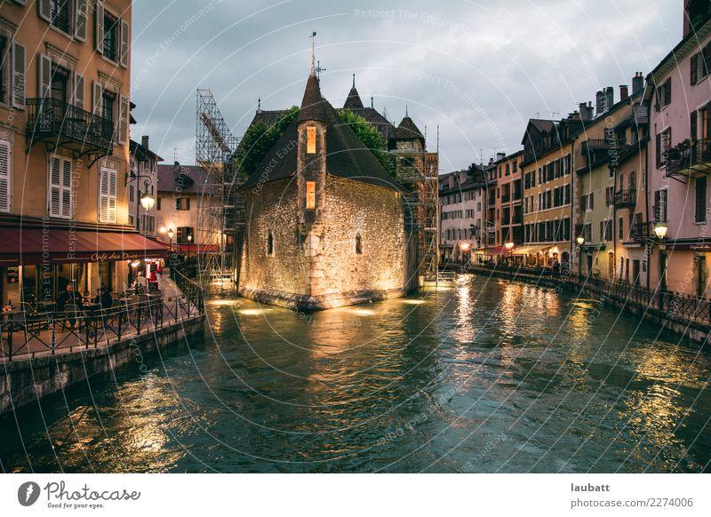 Annecy bei Nacht, Frankreich Ferien & Urlaub & Reisen Stadt Architektur Häusliches Leben Europa kaufen Brücke Ziel Skyline Altstadt Dorf Burg oder Schloss