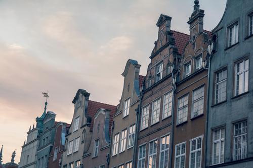 Nette holländische Arthäuser alt blau Stadt Haus Fenster Architektur Gebäude grau Fassade Zusammensein Häusliches Leben elegant ästhetisch authentisch