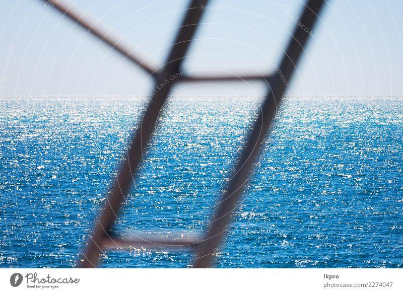 t vom Geländer Boot und Meer Himmel Natur Ferien & Urlaub & Reisen blau Sommer schön Wasser weiß Sonne Strand natürlich Design Wasserfahrzeug hell Horizont
