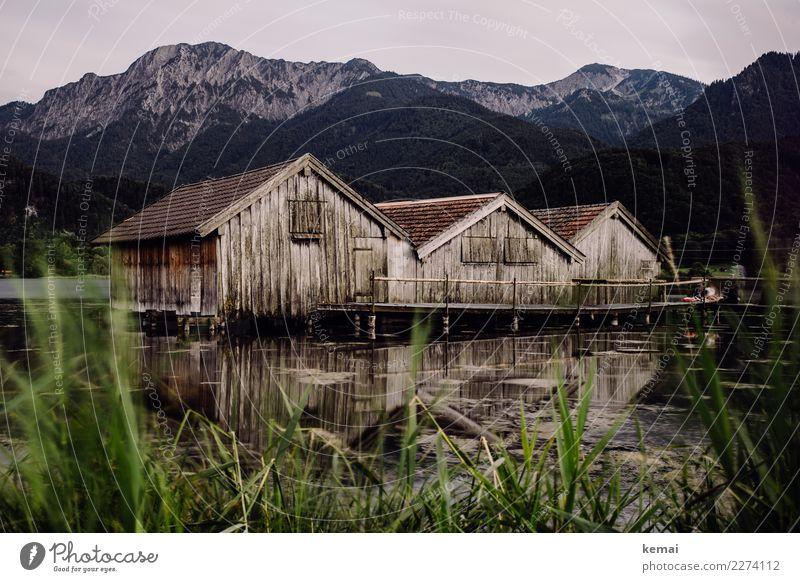 Drei Hütten harmonisch Wohlgefühl Sinnesorgane Erholung ruhig Ausflug Abenteuer Ferne Freiheit Natur Landschaft Himmel Pflanze Schilfrohr Felsen Alpen