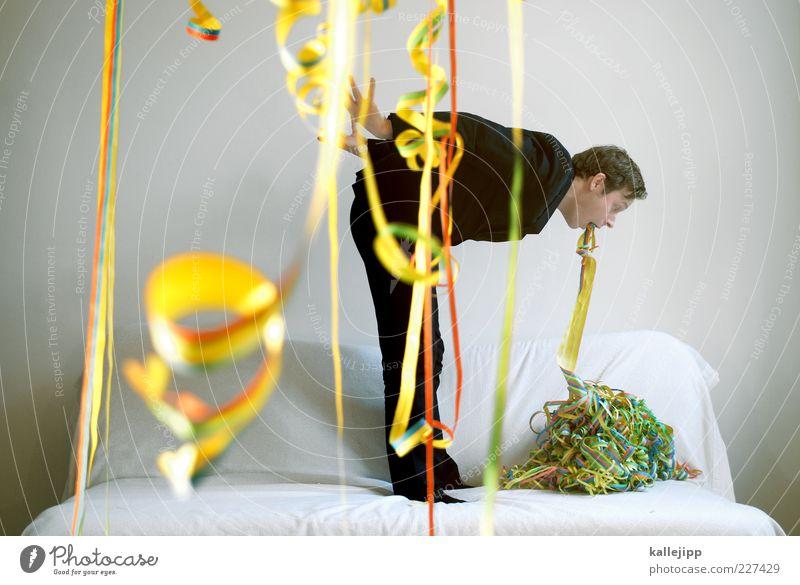 aschermittwoch Nachtleben Party Feste & Feiern Karneval Silvester u. Neujahr Mensch maskulin Mann Erwachsene Leben 1 30-45 Jahre mehrfarbig gelb grün rot