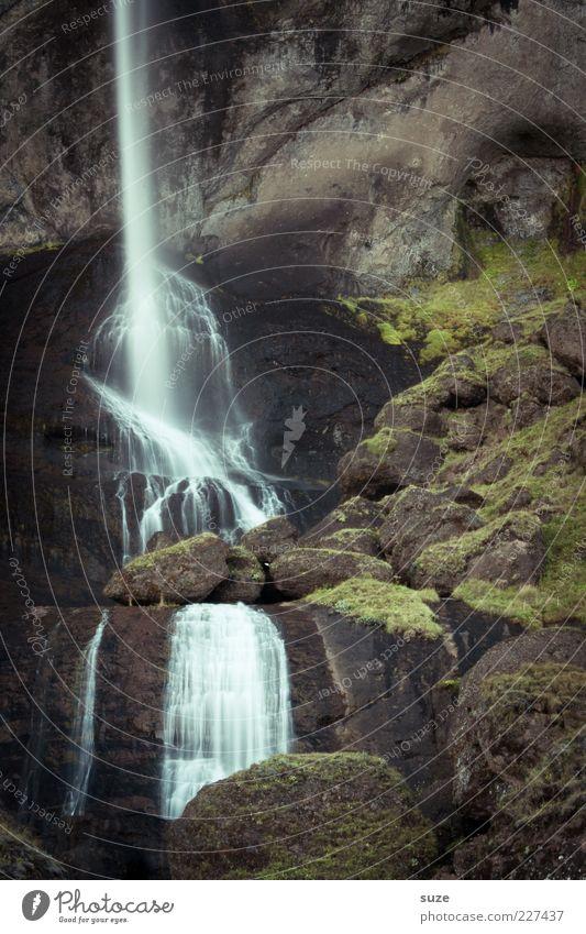 Zeitstrahl Natur Wasser Landschaft Umwelt Berge u. Gebirge kalt Felsen wild authentisch hoch Urelemente fantastisch Island Moos Wasserfall bewachsen