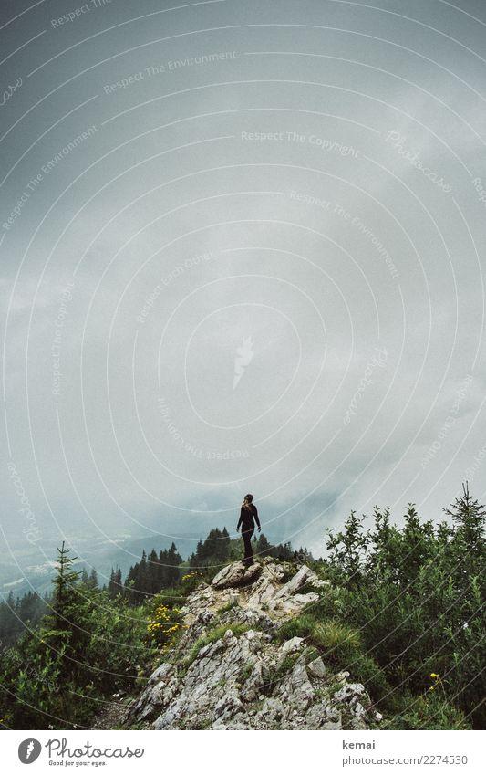 Oben am Gipfel Mensch Himmel Natur Erholung Wolken ruhig Ferne Berge u. Gebirge Leben feminin Freiheit Felsen oben Ausflug Zufriedenheit Freizeit & Hobby