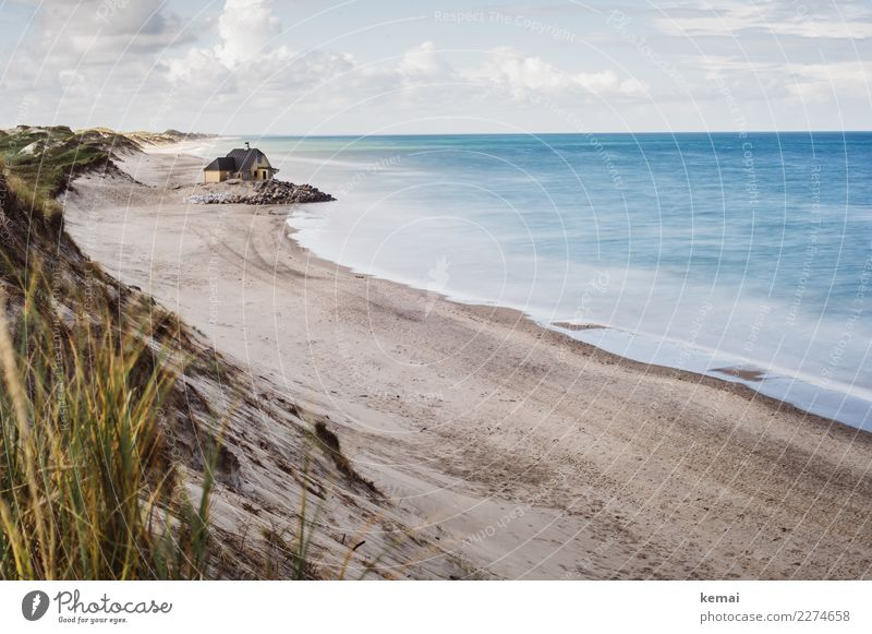 Dänisches Haus am Meer Himmel Ferien & Urlaub & Reisen Natur Sommer blau schön Landschaft Erholung Wolken ruhig Ferne Strand Leben Küste