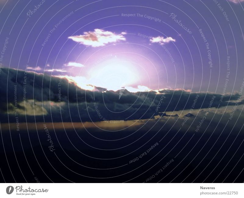 sun of ice Wolken kalt Sonnenuntergang Aussicht blau Himmel