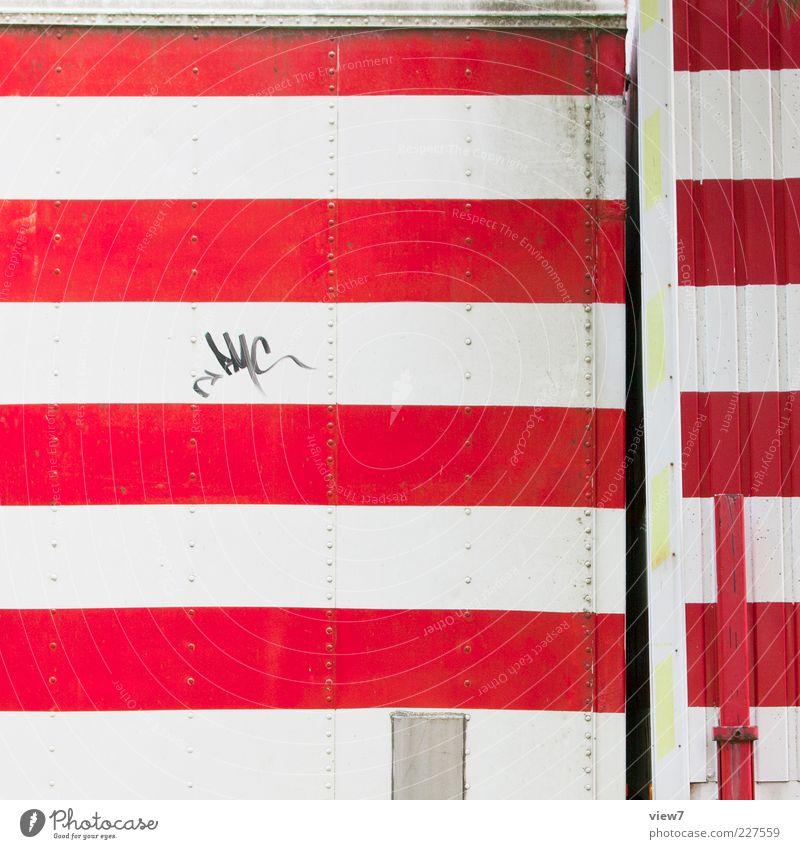 4 x 4 Verkehr Metall Linie Streifen Schnur alt frisch modern retro rot weiß gefährlich ästhetisch Design Farbe Kitsch Güterverkehr & Logistik Barke wichtig