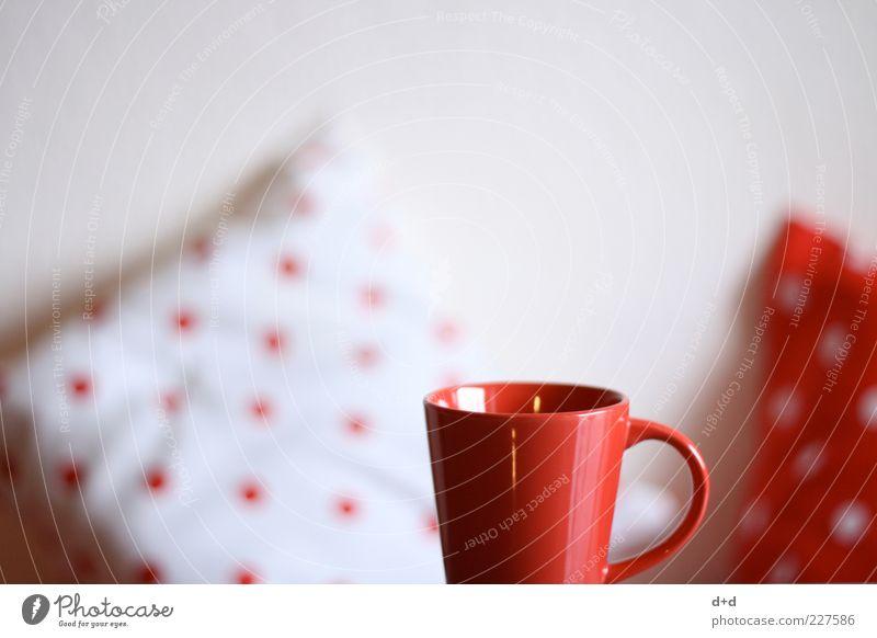 °.°.°. Stil trinken Dekoration & Verzierung rot rot-weiß Tasse Kaffeetasse Kissen Punkt retro Muster Stoff Textilien Tee Teetasse Getränk Kücheneinrichtung