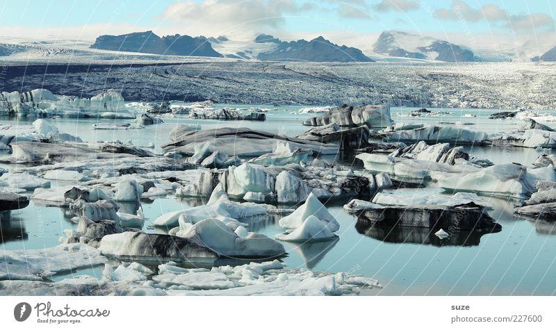 Eiswelt Natur Wasser blau Wolken Einsamkeit Ferne kalt Umwelt Berge u. Gebirge Landschaft See natürlich wild Klima einzigartig