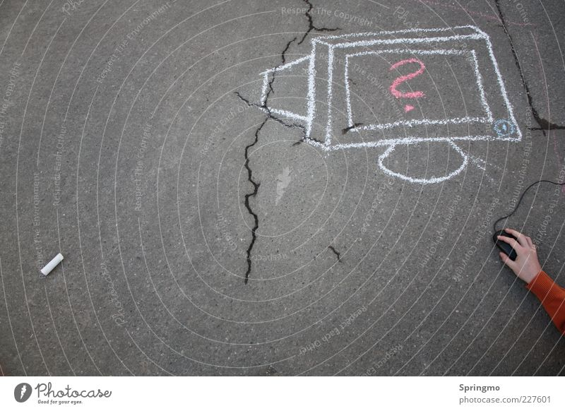 Computer verstehen weiß Hand Straße Spielen grau Computer modern Kommunizieren lernen Asphalt Riss Bildschirm Kreide Computermaus beweglich Teer