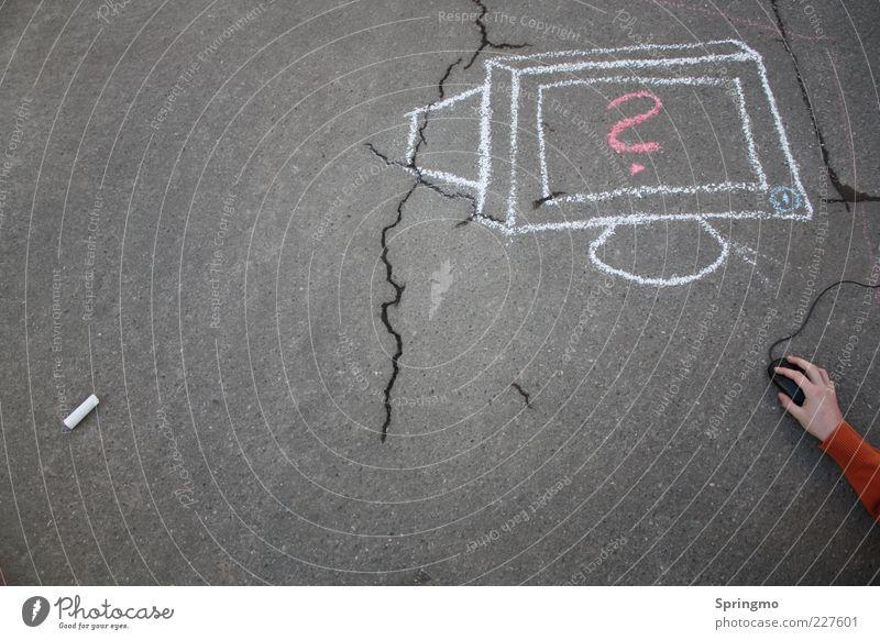 Computer verstehen weiß Hand Straße Spielen grau modern Kommunizieren lernen Asphalt Riss Bildschirm Kreide Computermaus beweglich Teer