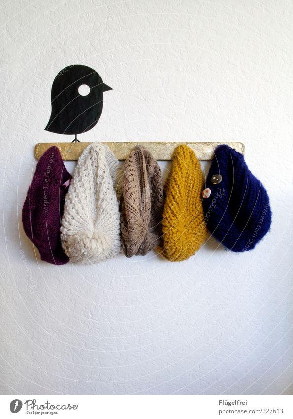 Der frühe Vogel kann Mütz mal! Mütze hängen Accessoire Wand Bekleidung mehrfarbig Tier Wandtattoo kalt aufhängen Dekoration & Verzierung Wollmütze