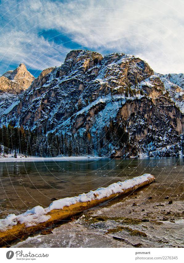 schneebedeckter Klotzbergsee mit Bergen und blauem Himmel Natur Ferien & Urlaub & Reisen schön grün weiß Landschaft Sonne Baum Einsamkeit ruhig Winter Wald