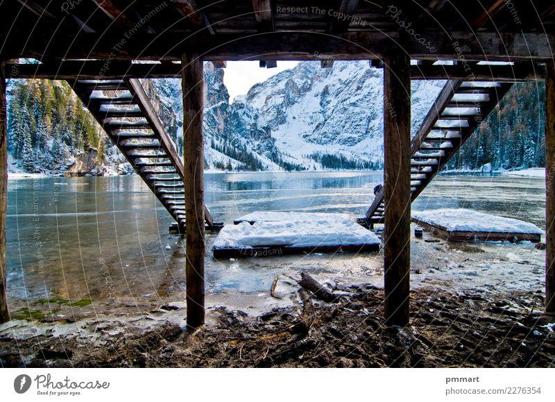 Zuflucht mit Bergsee schön Ferien & Urlaub & Reisen Tourismus Abenteuer Sonne Winter Schnee Berge u. Gebirge Familie & Verwandtschaft Natur Landschaft Himmel