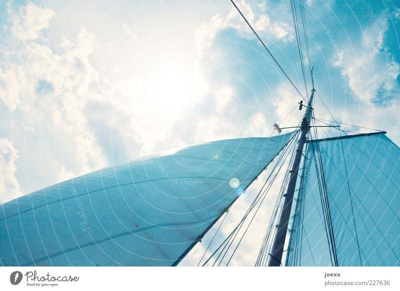 Große Freiheit Himmel blau Sonne Ferien & Urlaub & Reisen Sommer Wolken Stimmung Wind Ausflug Wasserfahrzeug Fernweh Segel Wetter Mast Froschperspektive