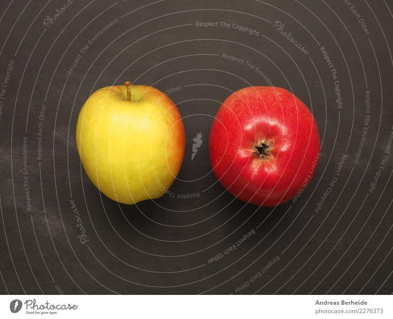 Zwei Äpfel Frucht Apfel Bioprodukte lecker süß agriculture apple Hintergrundbild black color delicious diet five food fresh freshness fruit green health healthy