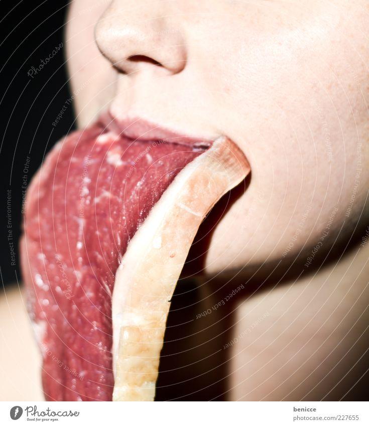 medium Frau Mensch rot Ernährung Lebensmittel lustig Essen Mund Nase außergewöhnlich Lippen Übergewicht skurril Fett Fleisch Zunge
