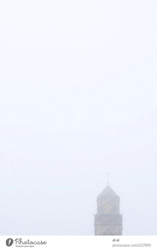 --^- Religion & Glaube Nebel Kirche Dom Christentum Kathedrale Gotteshäuser Kirchturm Uhr Morgennebel Nebelschleier Kirchturmspitze Nebelstimmung Kirchturmuhr
