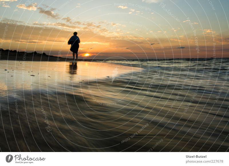 Am Meer Mensch Himmel Natur Ferien & Urlaub & Reisen Strand Wolken gelb Erholung Landschaft Glück Küste Wellen Zufriedenheit Horizont nass gold