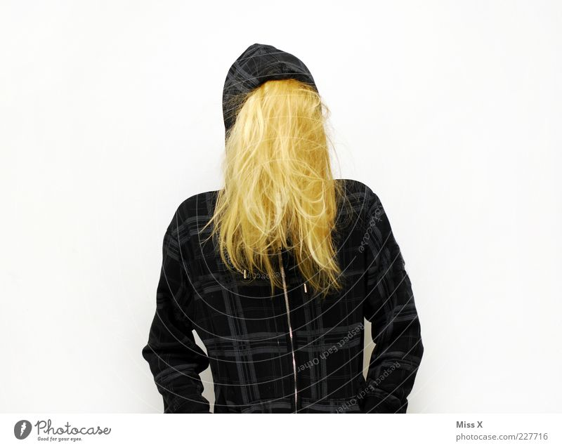 Nicht da Mensch Jugendliche Haare & Frisuren blond Bekleidung geheimnisvoll Jacke skurril verstecken langhaarig anonym Junge Frau Frau Behaarung verdeckt Kapuzenjacke