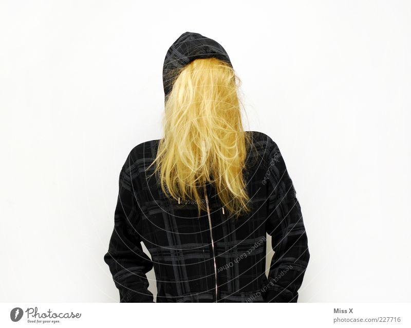 Nicht da Mensch Junge Frau Jugendliche Haare & Frisuren 1 Bekleidung Jacke blond langhaarig geheimnisvoll verstecken Farbfoto Studioaufnahme Freisteller
