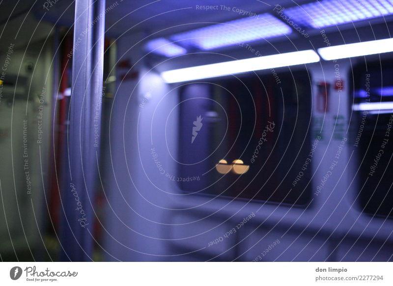 next stop unknown Verkehr Verkehrsmittel Öffentlicher Personennahverkehr Bahnfahren Personenzug S-Bahn U-Bahn Zugabteil blau Ferien & Urlaub & Reisen