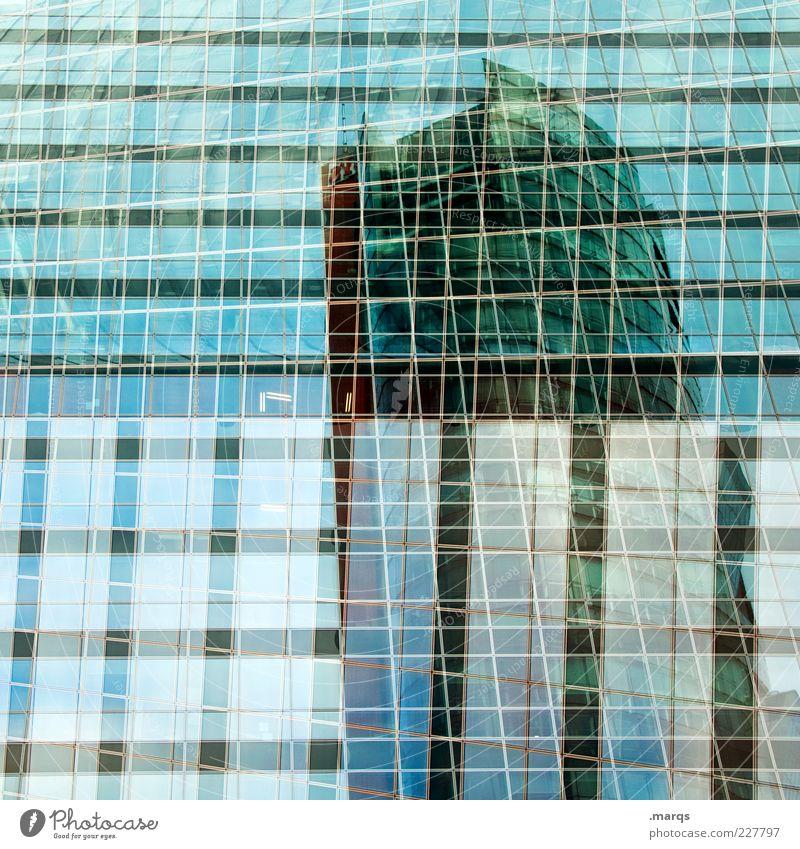 Vitreous Stil Design Wirtschaft Bauwerk Gebäude Architektur Bankgebäude Hochhaus Fassade Fenster Glas Linie außergewöhnlich Coolness trendy Wandel & Veränderung