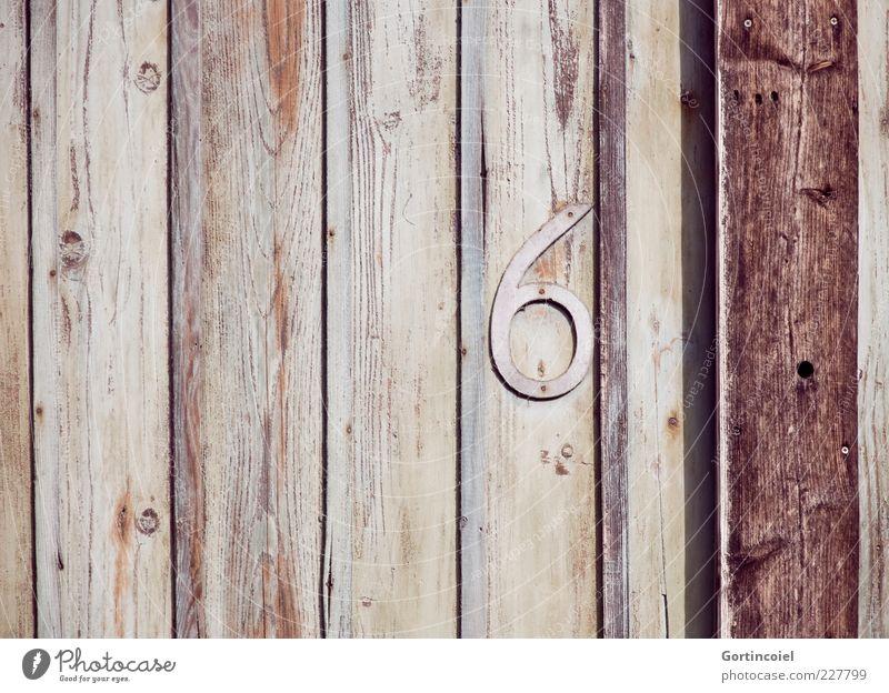 Sechsy Holz Ziffern & Zahlen braun 6 Maserung Balken Holzwand Hausnummer Farbfoto Außenaufnahme Textfreiraum links Schatten Menschenleer