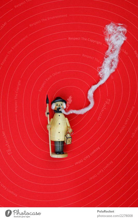 #A# Roter Qualmer Kunst ästhetisch Weihnachten & Advent geräuchert Räuchermännchen Rauchen rot Adventskalender rauchend Rauchpause Rauchen verboten Farbfoto