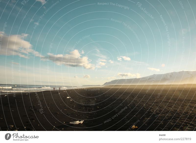 Dunkelbunt Natur schön Himmel Meer Strand Ferien & Urlaub & Reisen schwarz Wolken Einsamkeit Berge u. Gebirge Sand Landschaft Küste Umwelt Horizont