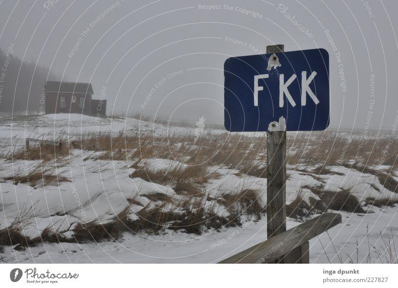 Nix für Nackedeis? Strand Winter Umwelt kalt Schnee Freiheit Wetter Nebel Schilder & Markierungen verrückt Hinweisschild Toilette frieren Scham