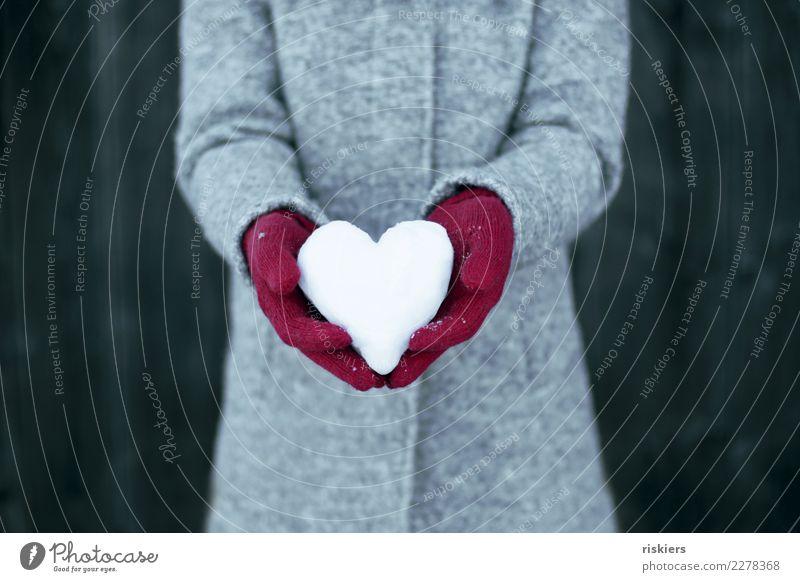 Winterliebe iii Frau Erwachsene 1 Mensch Schnee Mantel Handschuhe festhalten grau rot weiß Glück Zufriedenheit Lebensfreude Liebe Schneeherz Herz Farbfoto