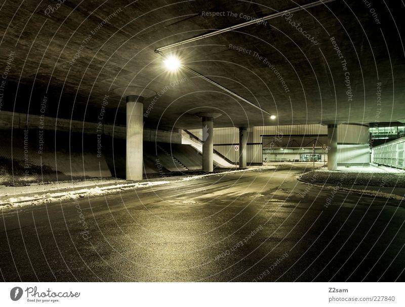 nachtruhe Winter Straße dunkel Architektur modern ästhetisch Brücke Perspektive einfach Bauwerk Tunnel Verkehrswege Scheinwerfer eckig Glanzlicht