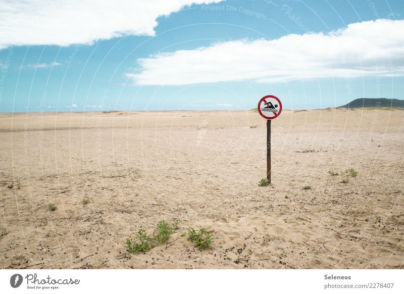 Schade eigentlich Ferien & Urlaub & Reisen Tourismus Ausflug Abenteuer Ferne Freiheit Sommer Sommerurlaub Strand Schilder & Markierungen Hinweisschild