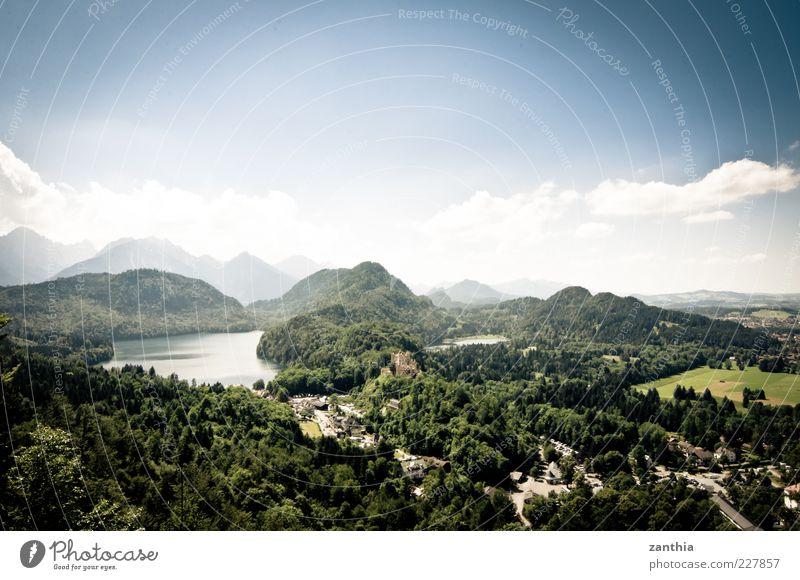 Hohenschwangau Natur Himmel grün blau Sommer Wolken Wald Berge u. Gebirge See Landschaft Deutschland Umwelt Horizont Aussicht Alpen Bayern