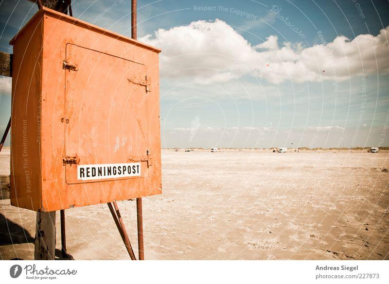 Redningspost Himmel Ferien & Urlaub & Reisen Sommer Strand Meer Wolken Ferne Freiheit Holz Küste orange Horizont frei frisch Unendlichkeit Kasten