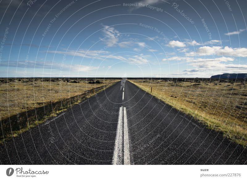 Streetview Himmel Wolken Ferne Straße Wiese Umwelt Wege & Pfade Linie Horizont Klima Ziel Asphalt Unendlichkeit Autobahn Schönes Wetter Island