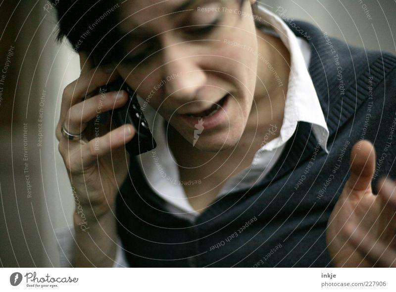 Ja, aber... Hand Gesicht Erwachsene Leben sprechen Business Arbeit & Erwerbstätigkeit Telefon Kommunizieren Telekommunikation Handy Beratung hören Konflikt & Streit Ring Handel