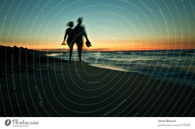 Strandspaziergang Mensch Natur Wasser Liebe Erholung dunkel Familie & Verwandtschaft Freundschaft Gesundheit Zusammensein Horizont gold laufen wandern