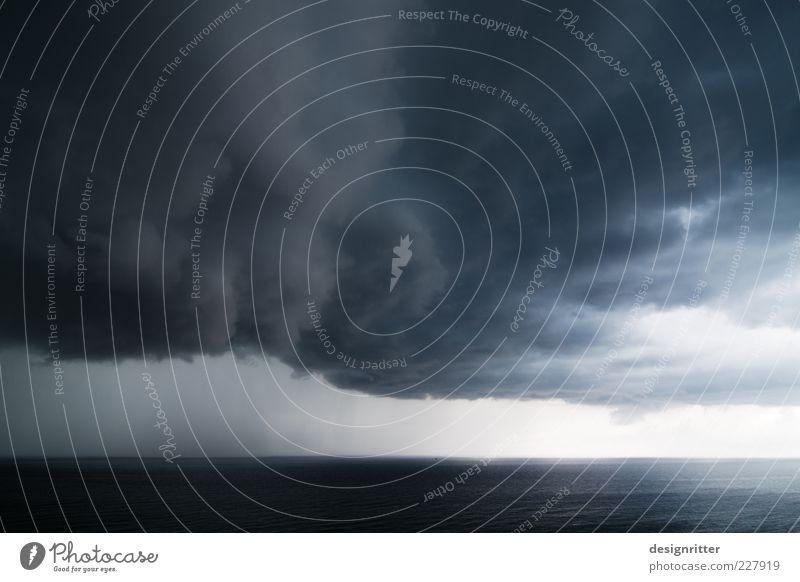 Warnung Himmel Wasser Meer Wolken ruhig dunkel Umwelt Regen Wetter Horizont Klima Urelemente Nordsee Sturm Unwetter Gewitter