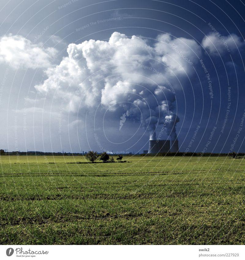 Künstliche Wolken Energiewirtschaft Kohlekraftwerk Umwelt Natur Landschaft Himmel Horizont Klima Schönes Wetter Pflanze Gras Feld Schwarze Pumpe Lausitz