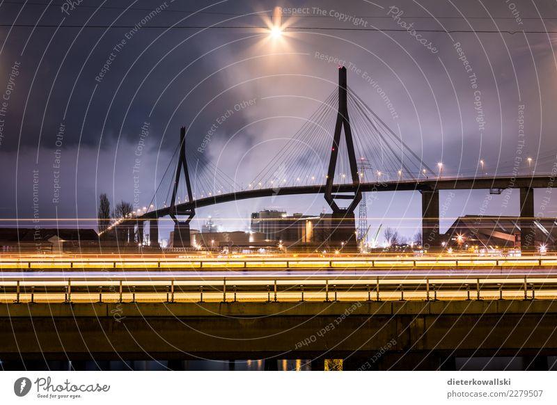 Köhlbrandbrücke Stadt Stadtzentrum Skyline Brücke Bauwerk Architektur Sehenswürdigkeit Straße Autobahn Fahrzeug PKW Lastwagen ästhetisch schön Hamburg